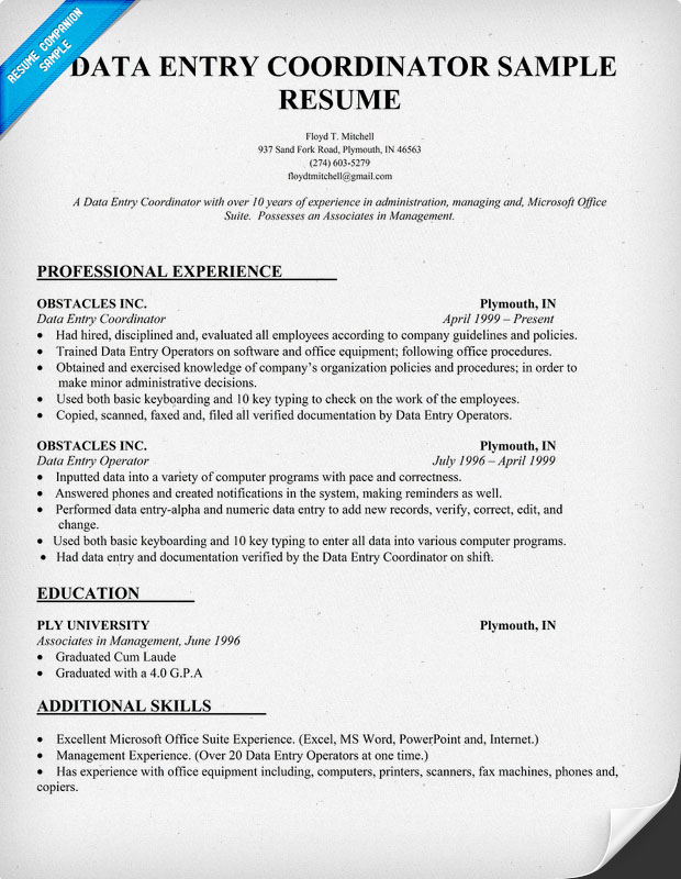 Sample Resume Data Entry Job Description Data Entry Clerk Job Description  Monster Leading Professional Data Entry  Data Entry Skills Resume