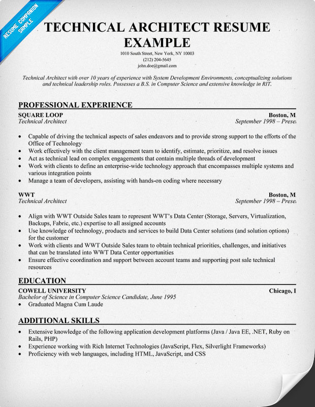 architecture resume example click on the link below to be taken
