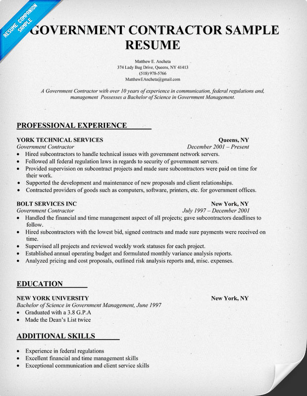 government contractor resume jpg