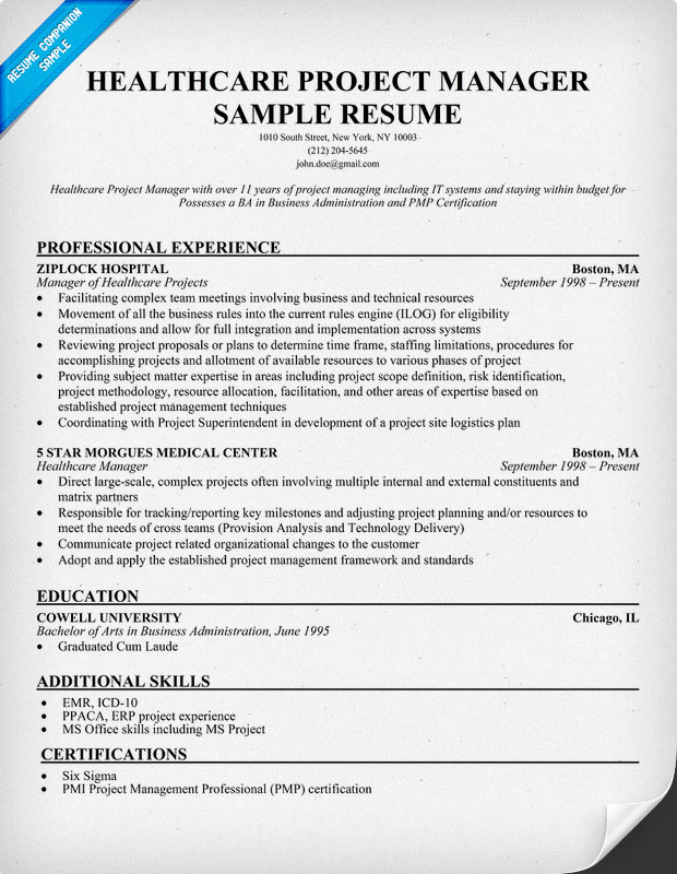 Examples Of Healthcare Resumes. Health Care Project Manager Resume