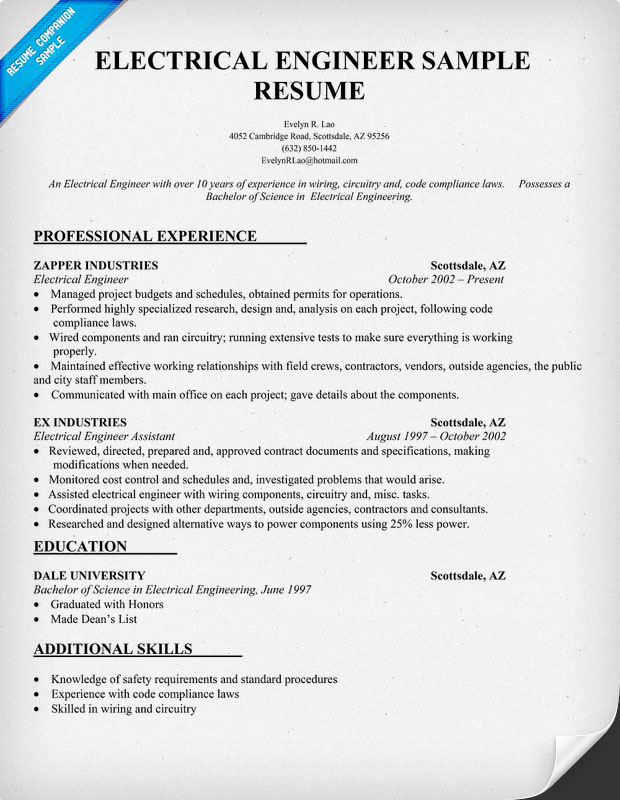 Resume Format For Experienced Electrical Engineers - Resume Sample