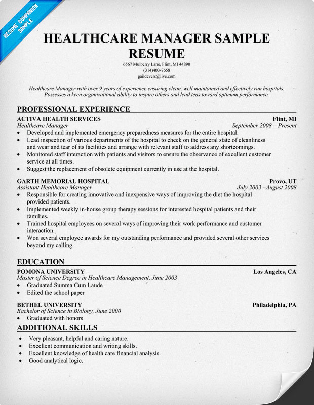 healthcare management resumes