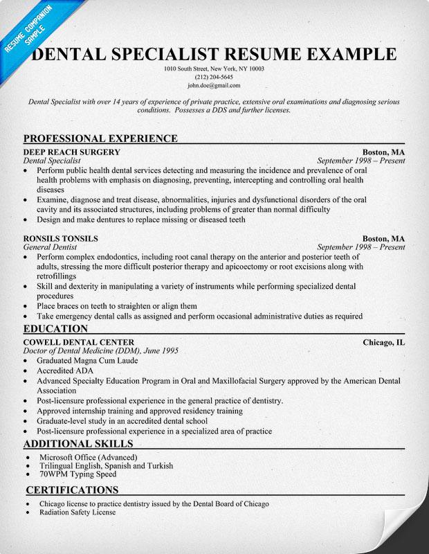 Dentist Resume Examples. Dentist Resumes General Dentist Resume