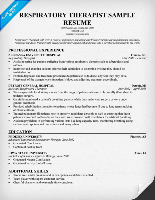 resumecompanionresume example respiratory therapist resume