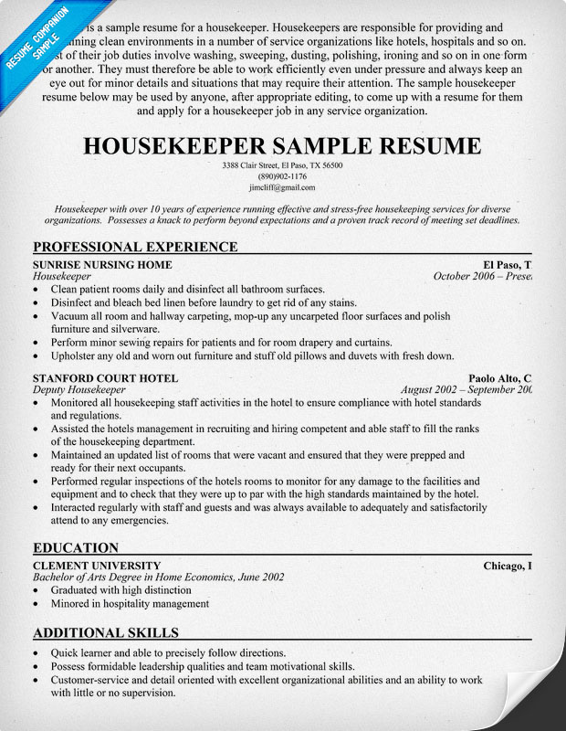housekeeper resume objective cover resume housekeeping position