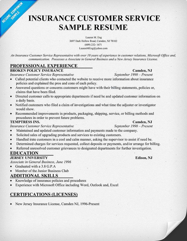 Insurance Agent Resume Sample. Insurance Agent Resume Example