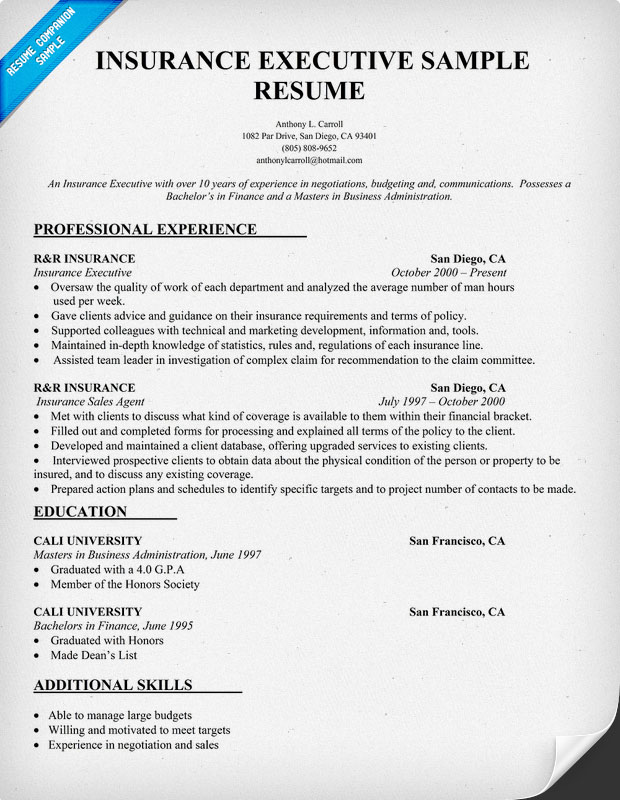 Resume For Insurance. Insurance Agent Resume Example Two Insurance