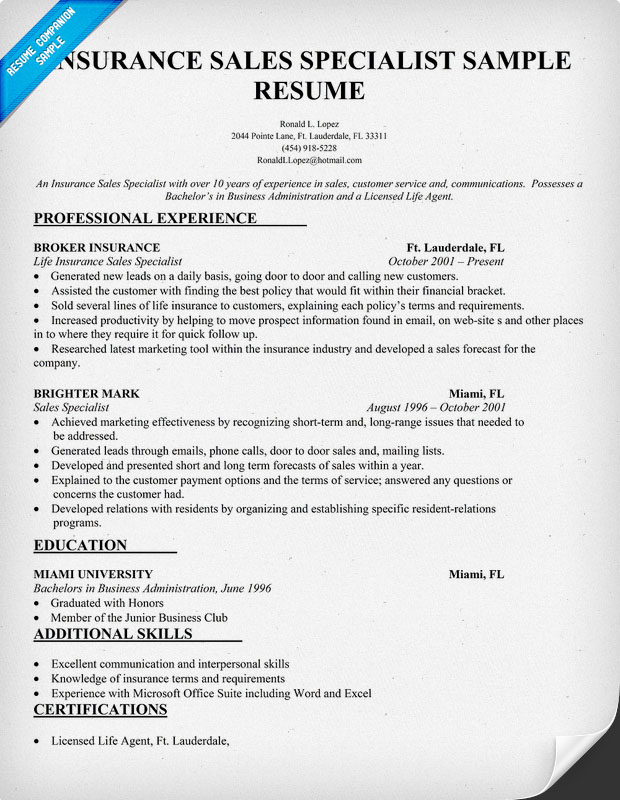 Insurance Agent Job Resume. Insurance Cover Letter S Le On