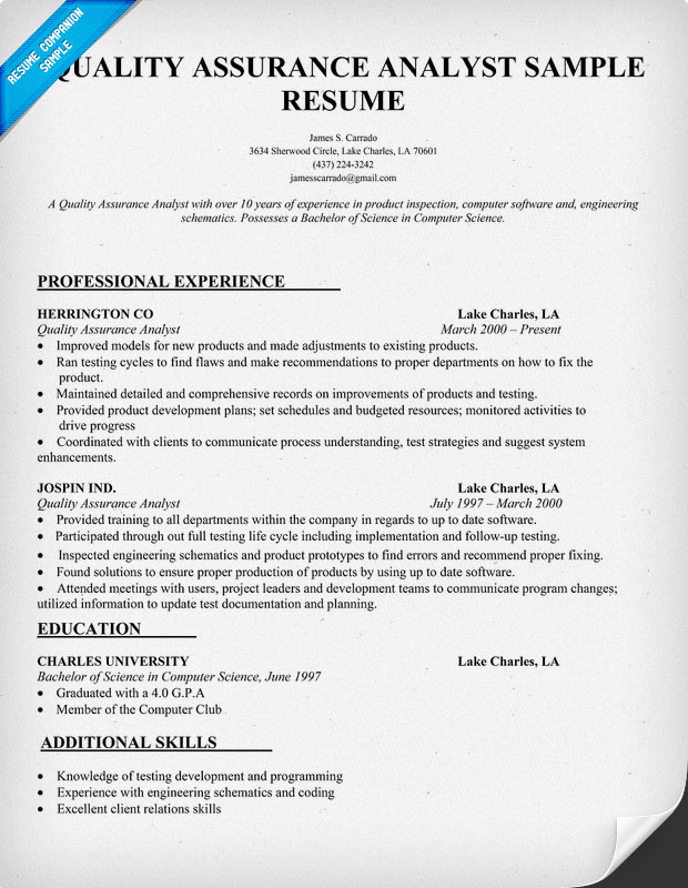 Qa Sample Resume   Resume Format Download Pdf Sample Of Attorney Resume