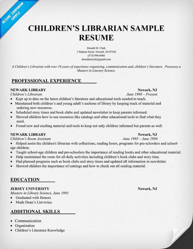 Sample Resume For Library Assistant Position. Librarian Resume