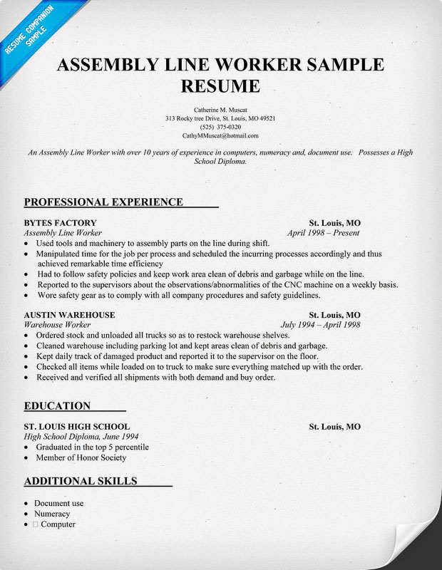 Sample Skills Resume Warehouse Worker. Resume Template Resume