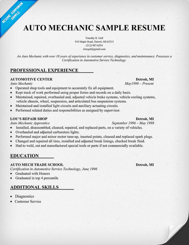 Aircraft Mechanic Resume Objective Examples. example and samples ...