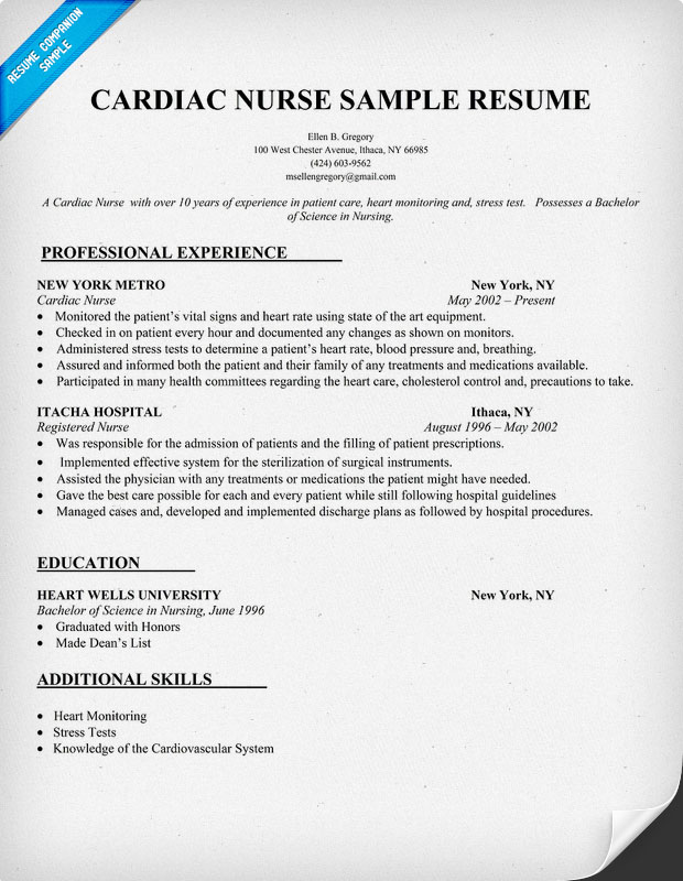 Resume Samples For Nurses  Sample Resume And Free Resume Templates