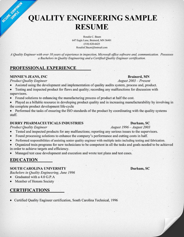 Manufacturing Engineer Resume Samples Entry Level Resume Downloads