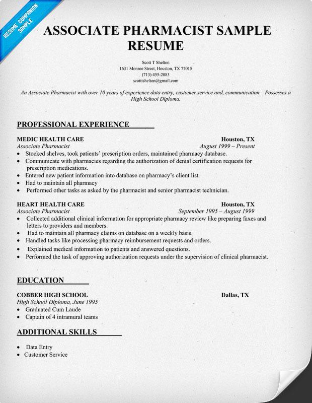 pharmacist resume example pharmacist resume example pharmacist