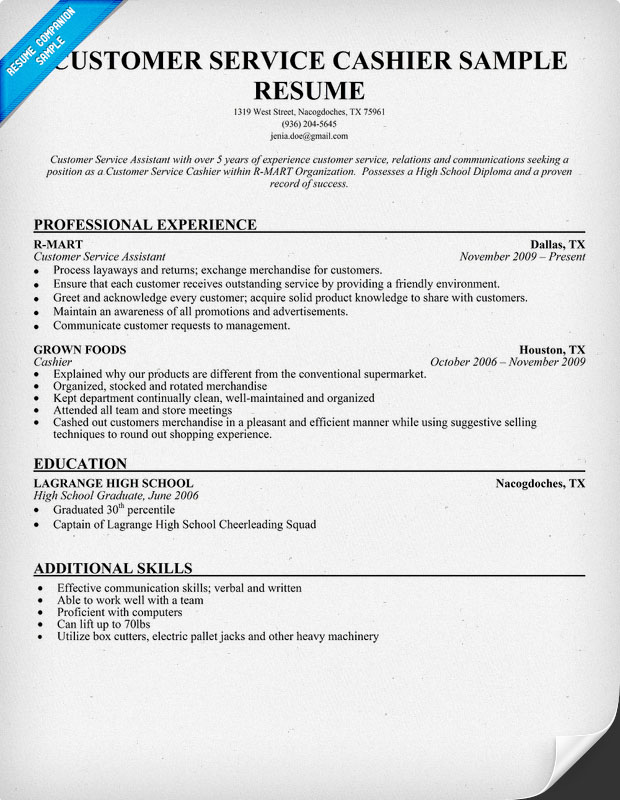 Resume Examples Cashier Fast Food. Resume For Service Crew Fast