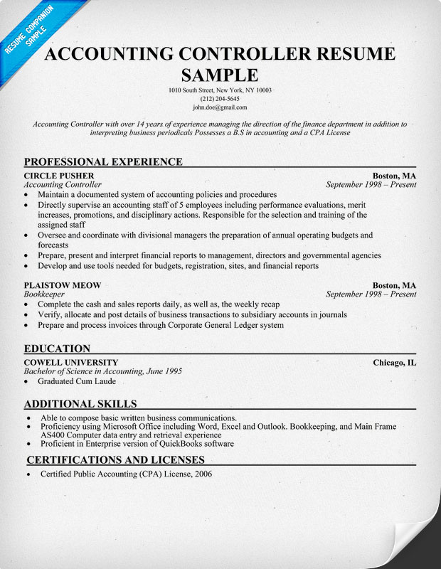 Controller Resume Example. Stock Resume Sample General Ledger