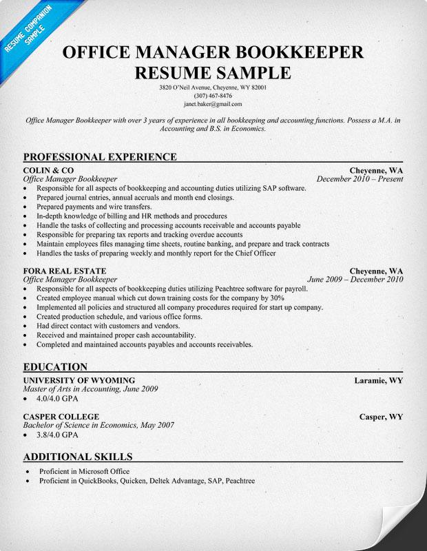 sample bookkeeper resume bookkeeper resume sample bookkeeper