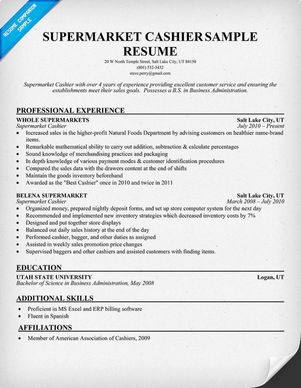 resume cashier objective resume cv cover letter - Example Resume For Cashier
