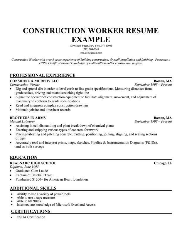 Labor Job Resume Example. Resume Example Sample Construction Labor