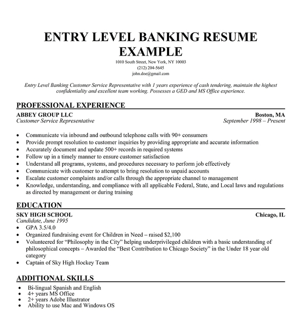 Sample Resumes For Banking Positions. Sample Resume Resume Manager