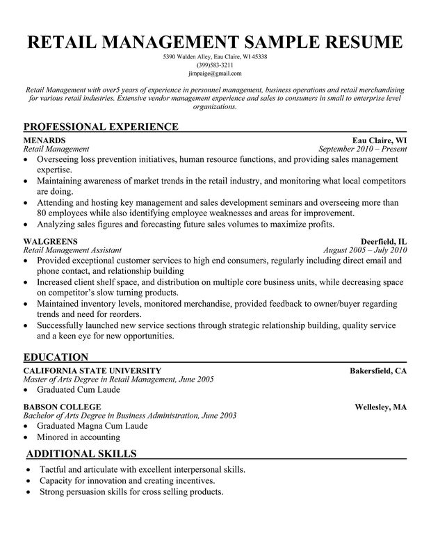 Sample Resume Retail Store Manager. Retail Store Manager Resume