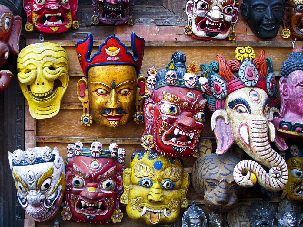 photo of Painted face masks on display in the historical Newar city of Bhaktapur, Nepal