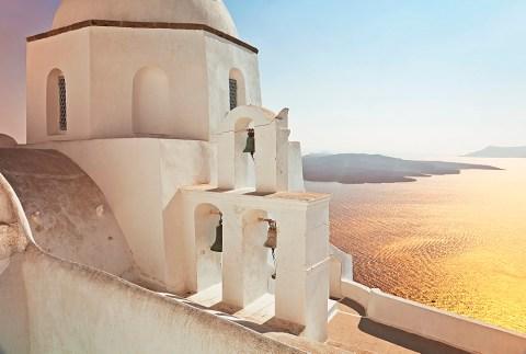 Greek Orthodox Church in Fira, Santorini (Thira), Cyclades Islands, Aegean Sea, Greek Islands, Greece