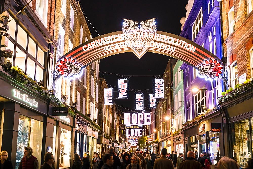 Alternative festive Christmas lights in Carnaby Street, Soho, London, England