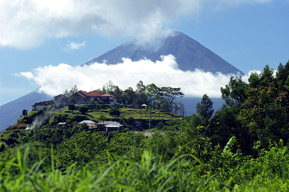 Stock travel photo of the village of Penelokan and the volcano of Mount Agung, Bali