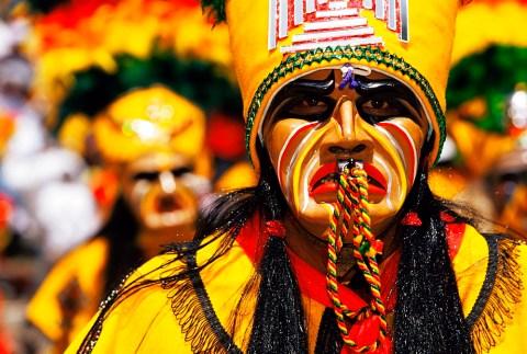 Portrait of a Tobas warrior during carnival called The Devil Dance (La Diablada), Oruro, Bolivia, South America