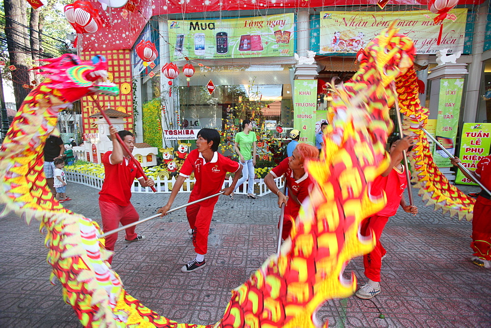 Dragon dance performers in Ho Chi Minh City