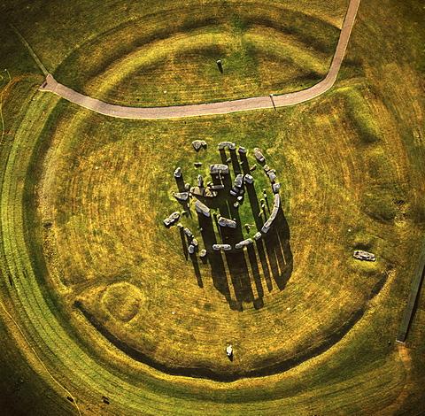 Aerial image of Stonehenge, prehistoric monument and stone circle, UNESCO World Heritage Site, Salisbury Plain, Wiltshire, England, United Kingdom