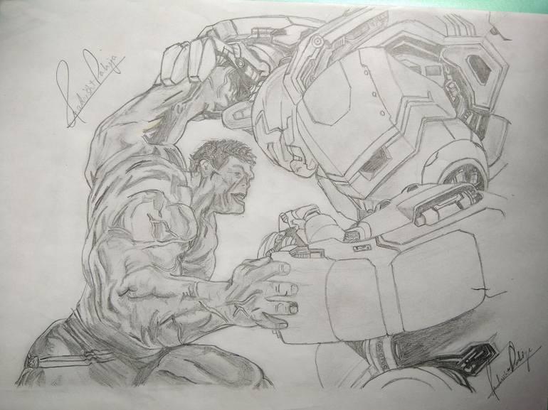 Hulk Vs Ironman Hulkbuster Drawing By Prakrisht Dahiya Saatchi Art