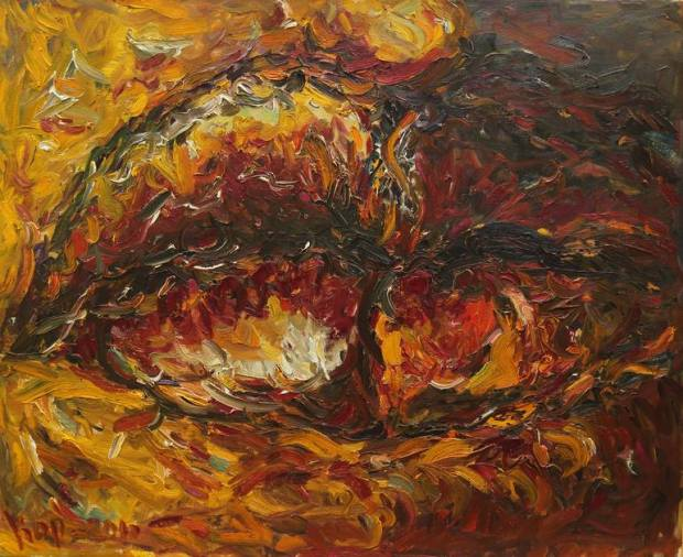 Original Abstract Painting by Karakhan S | Impressionism Art on Canvas | LIPS. CONFUSION OF FEELINGS - abstract large original painting, oil on canvas