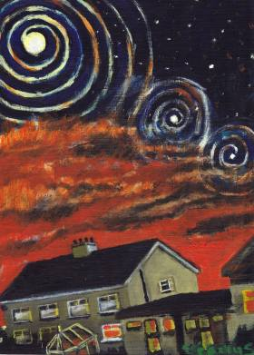 House with Full moon and conjunction of planets. Painting by ...