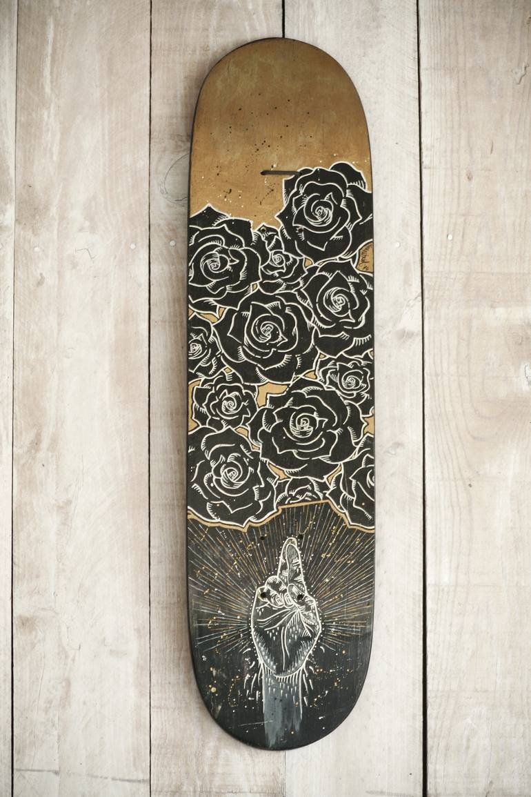Double Face Custom Skateboard Lucky Me Memento Mori Painting By