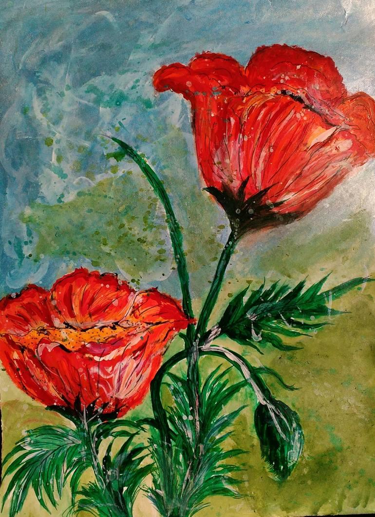 Beautiful Flowers In Nature Painting By Gunjan Famous Paintings Saatchi Art