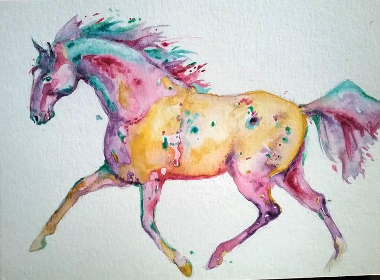 Running Horse Multi Color Painting By Daniela Vasileva Saatchi Art