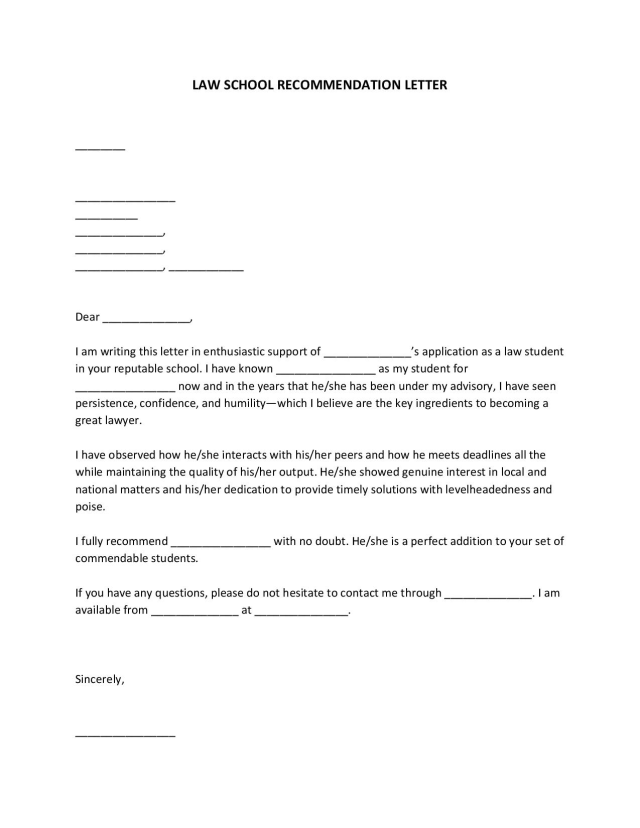 FREE Law School Recommendation Letter [PDF, WORD]