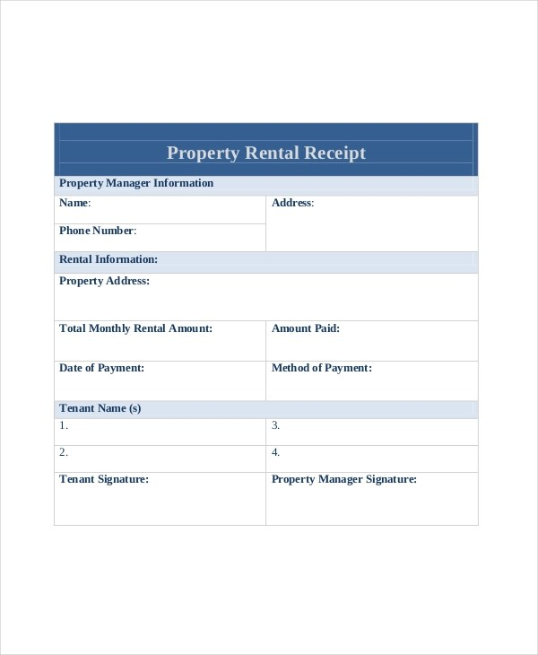 Free 10 Sample Rent Receipt Forms In Pdf