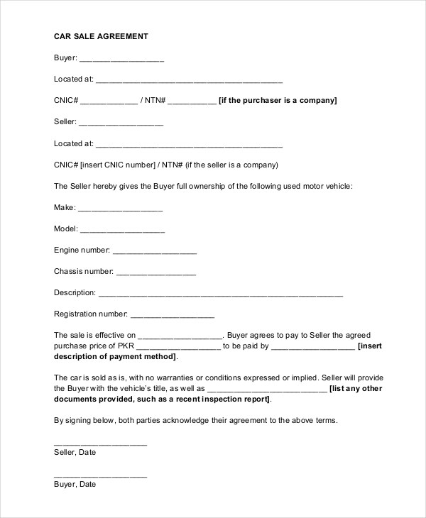 Car Sale Contract With Payments Template  Free Download