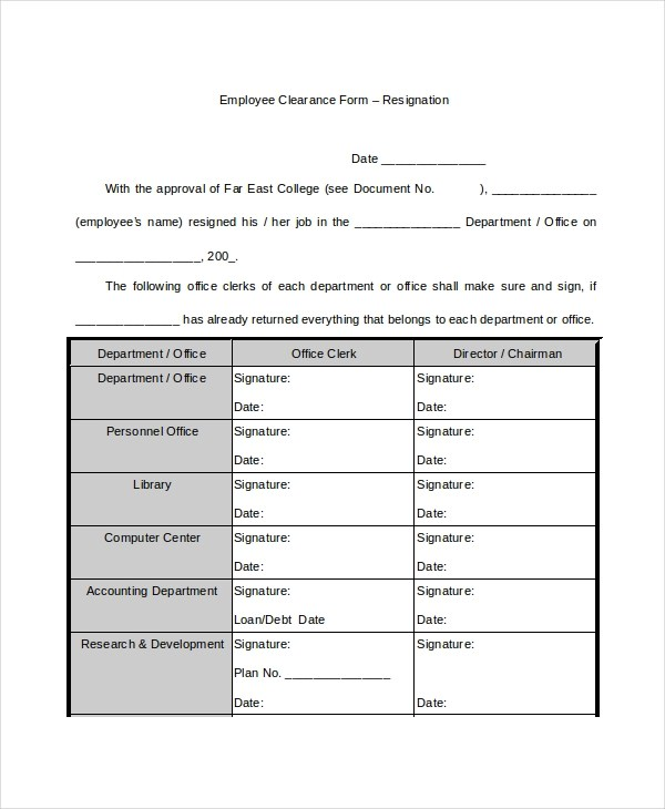 Free 8 Sample Employee Clearance Forms In Pdf Ms Word