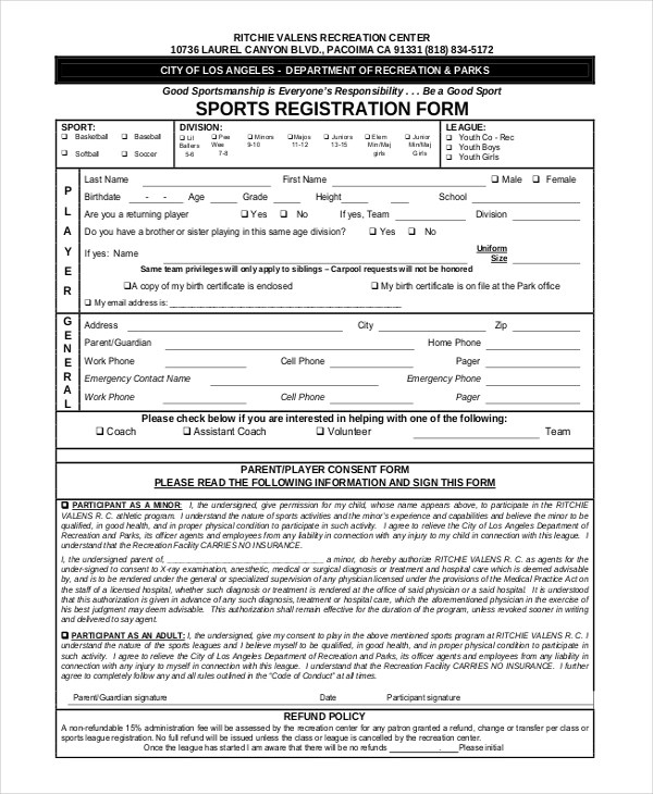 Sports registration forms template free download for Sport registration form template