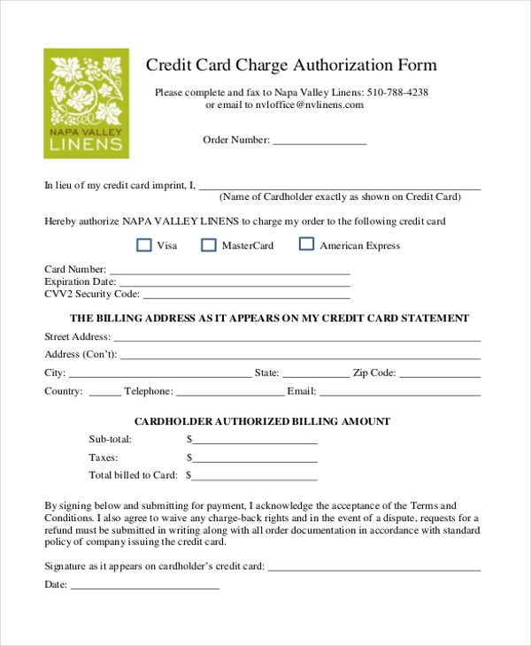 Credit Card Payment Authorization Form Sample | Infocard.Co