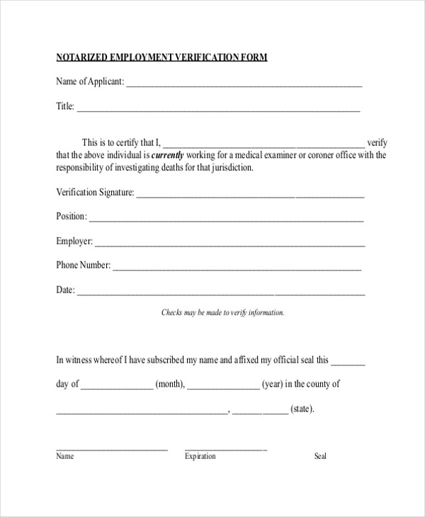 Employment Verification Forms In Pdf