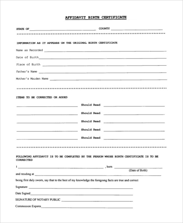 Birth certificate affidavit for green card format infocard birth certificate affidavit sample affidavit form sample 10 free doents in pdf yelopaper Images