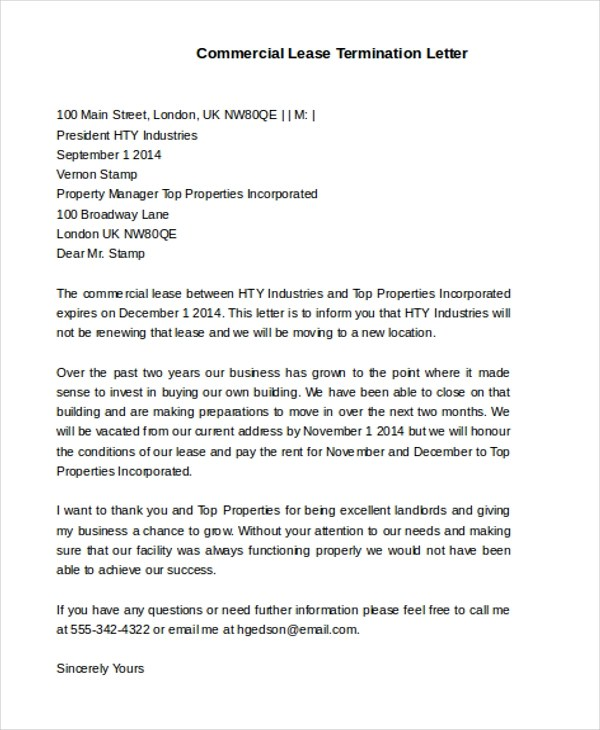 Free Sample Commercial Lease Termination Letter   Docoments Ojazlink
