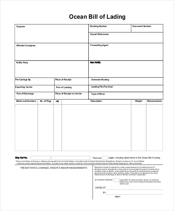 Lading Pdf Form Bill