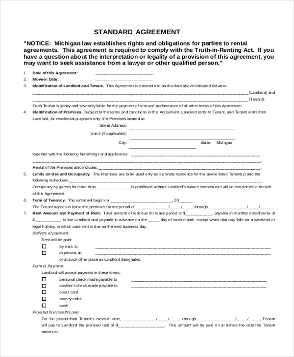 FREE 12 Sample Rental Agreement Forms In MS Word PDF Excel